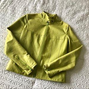 Oscar Leopold Lime Green Leather Jacket